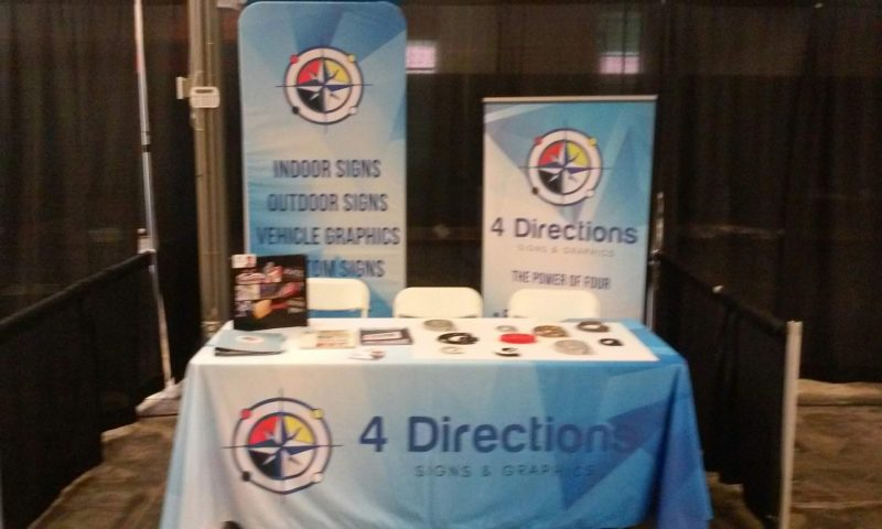 Vinyl banners, table cover, promotional items for 4 Directions Signs & Graphics
