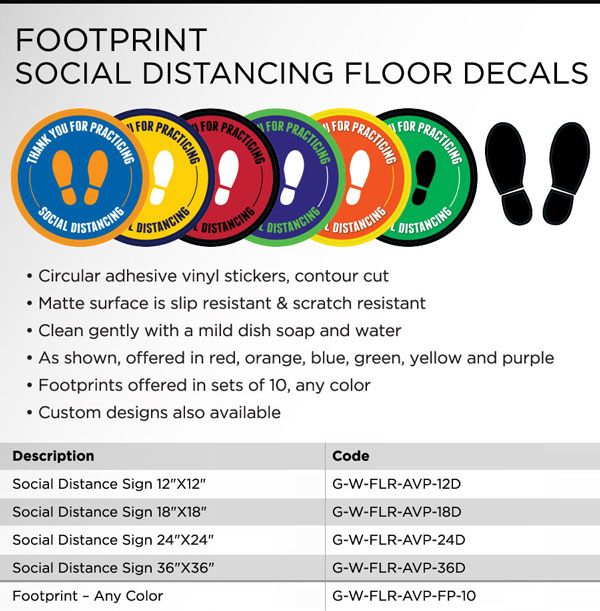 Footprint social distancing floor decals