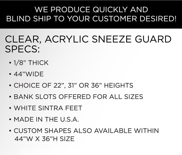 Acrylic sneeze guards