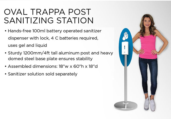 Oval trappa post sanitizing station