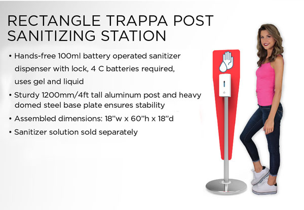 Rectangle Trappa Post Sanitizing Station