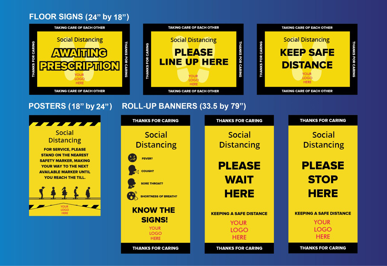 COVID-19 posters, banners, floor signs