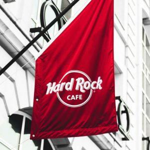 Advertising vinyl red flag for restaurant